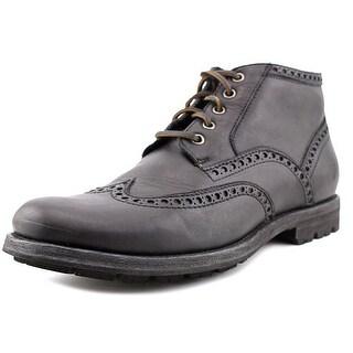 Frye Phillip Lug Wingtip Men Round Toe Leather Black Chukka Boot