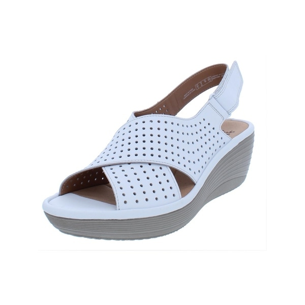 ddffdaad340 Shop Clarks Womens Reedly Variel Wedge Sandals Perforated Slingback ...