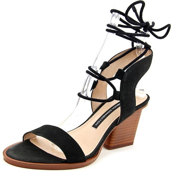 French Connection Jalena Women Open Toe Leather Black Sandals
