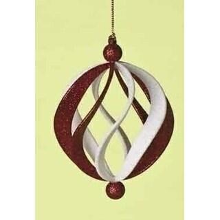 "4.5"" Peppermint Twist Glittery Spiral Ball Christmas Ornament"