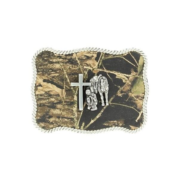 Nocona Western Belt Buckle Cross Cowboy Prayer Silver Camo - 2 3/4 x 3 1/4