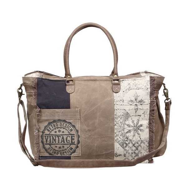 a5fc0d154 Retro Print Upcycled Vintage Canvas Crossbody Bag with Genuine Leather Trim