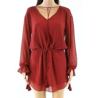 Haute Hippie Red Womens Size XS V-Neck Drawstring Shift Dress