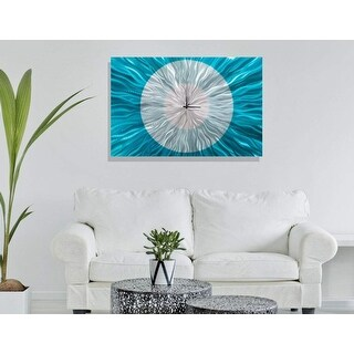 "Statements2000 Aqua Blue Silver Metal Wall Clock Art by Jon Allen - Catwalk Aqua - 36"" x 24"""