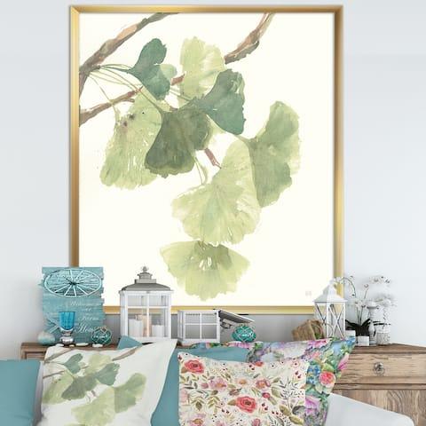 Designart 'Watercolor Gingko Leaves I' Cabin & Lodge Framed Art Print