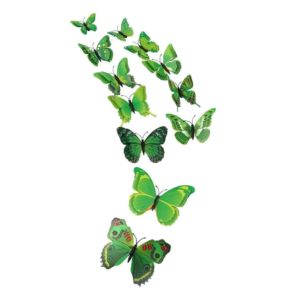 3D Butterfly with Double Wings Sticker with Pin for Room Decoration Green
