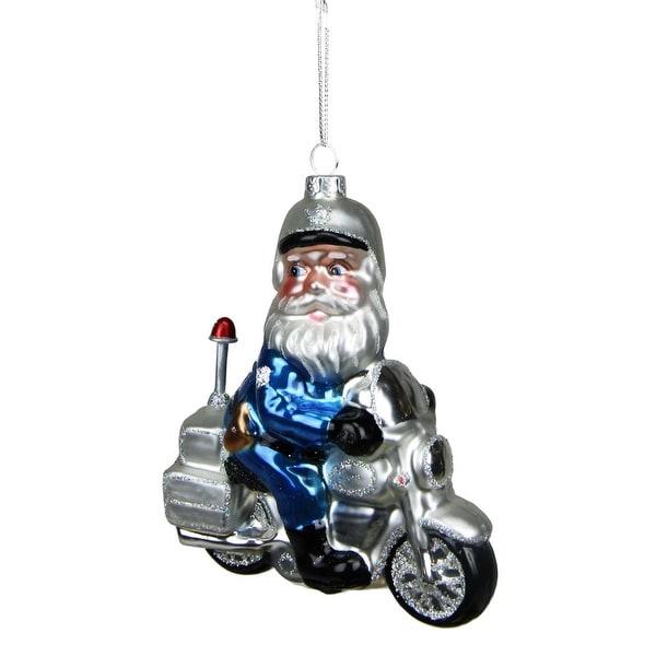 "5"" Glass Santa Policeman Riding Motorcycle Christmas Ornament"
