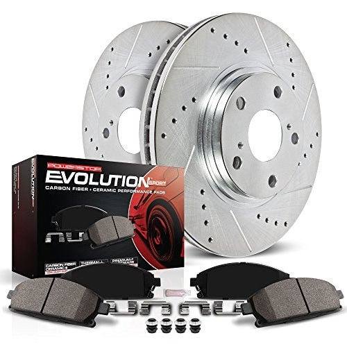 Power Stop K1384 Rear Z23 Evolution Brake Kit with Drilled/S - silver zinc plated