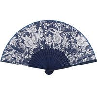 Unique Bargains Bamboo Ribs Flowers Leaves Print Chinese Minority Fabric Foldable Hand Fan
