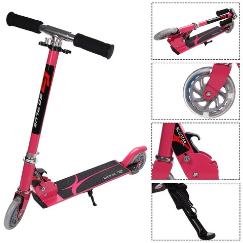 Goplus Pink Folding Aluminum 2 Wheel Kids Kick Scooter Adjustable Height LED Light Up