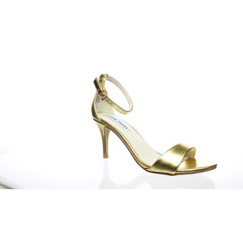 eaf56f37843 Steve Madden Womens Sillly Gold Foil Ankle Strap Heels Size 7