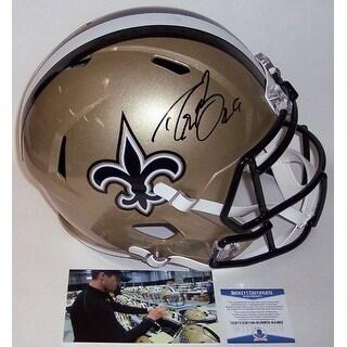 Drew Brees Autographed Hand New Orleans Saints Speed Full Size Helmet BAS Beckett