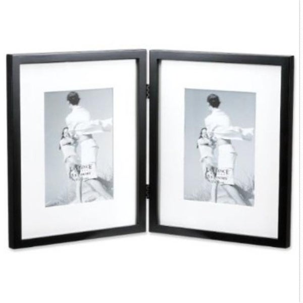 Shop Black Wood 8x10 Hinged Double Picture Frame Matted To 5x7