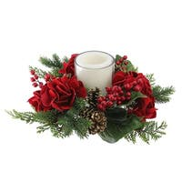 "15"" Artificial Mixed Pine and Red Hydrangea Decorative Wreath Pillar Candle Holder - green"