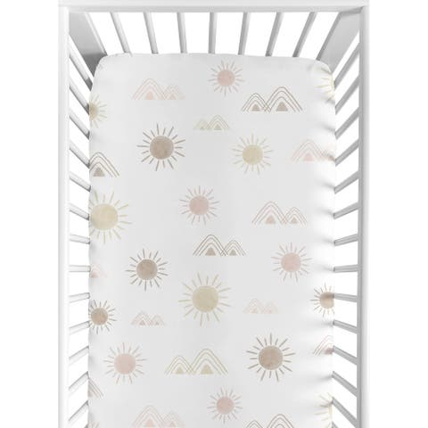 Boho Desert Sun Girl Fitted Crib Sheet - Blush Pink Mauve Gold Taupe Bohemian Watercolor Mountains Southwest Nature Outdoors