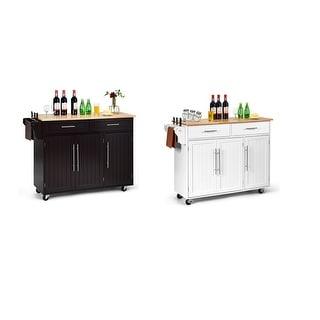 Costway Kitchen Island Trolley Cart Wood Top Rolling Storage Cabinet