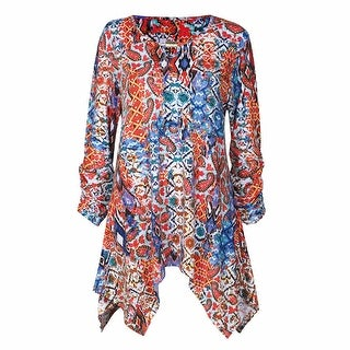 Women's Tunic Top - Wild Paisley Long Sleeve Shirt