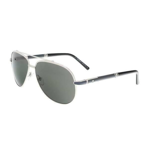 8bf6d4b29bf Shop Montblanc MB511S 16A Silver Rectangle Sunglasses - 62-14-140 ...