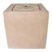 Zenvida Outdoor Garden Fountain, Sandstone Cube with LED Lights