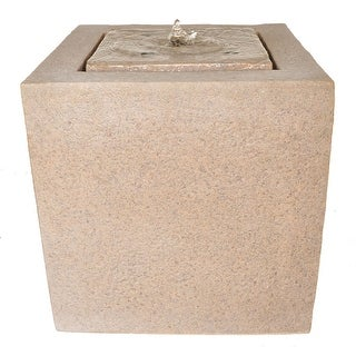 Zenvida Outdoor Garden Fountain, Sandstone Cube with LED Lights
