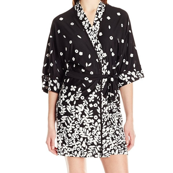 18d46982a45 Shop In Bloom NEW Black White Womens Size Medium M Floral Print Belted Robe  - Free Shipping On Orders Over  45 - Overstock - 20486203