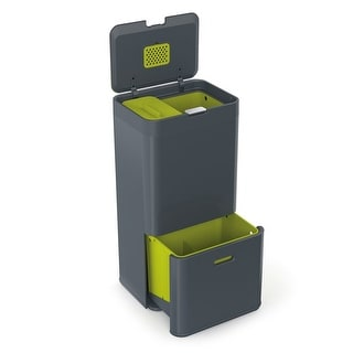 Joseph Joseph 30002 Intelligent Waste Totem Garbage Trash Can Unit with Recycling Bin, 16-gallon, Gray