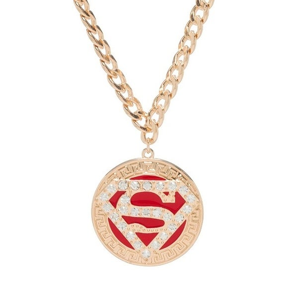 Superman Logo Bling Gold Round Sparkle Pendant Necklace Free