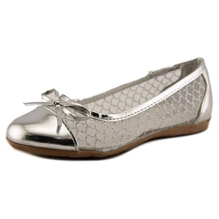 Kensie Girl Shine Youth Round Toe Synthetic Silver Ballet Flats