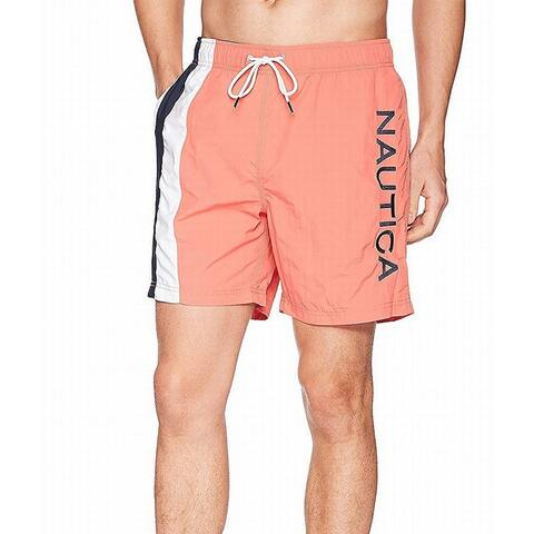 Nautica Coral Orange Mens Size 2XL Logo Drawstring Trunks Swimwear