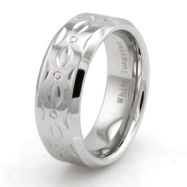 Hand Carved White Tungsten Ring w/ Contemporary Pattern