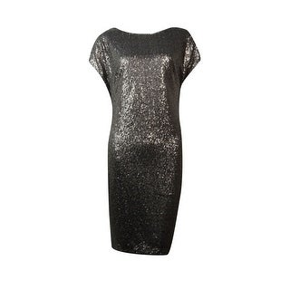 Vera Wang Women's Cap Sleeves Sequin Dress