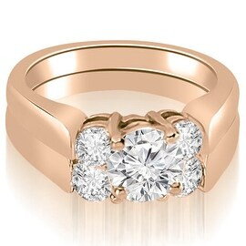 1.50 cttw. 14K Rose Gold Round Cut Diamond Engagement Bridal Set