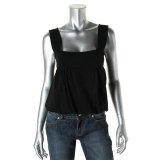 Catherine Malandrino Womens Pleated Square Neck Casual Top - S