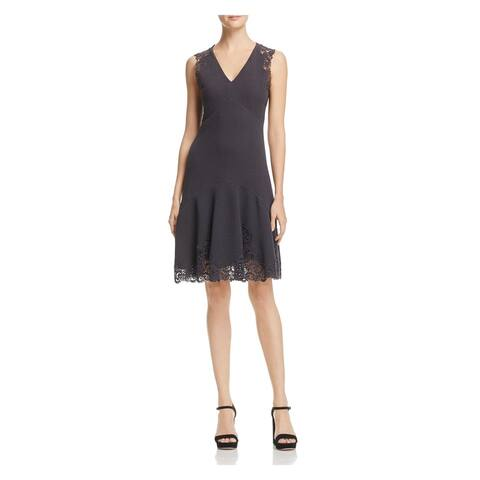 REBECCA TAYLOR Black Sleeveless Above The Knee Sheath Dress Size 0