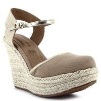 Ceresnia Adult Beige Ankle Strap Closure Wedge Trendy Sandals