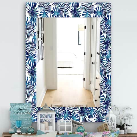 Designart 'Tropical Mood Blue 3' Bohemian and Eclectic Mirror - Vanity Mirror