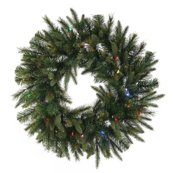 "24"" Pre-Lit Mixed Cashmere Pine Artificial Christmas Wreath - Multi-Color LED Lights - green"