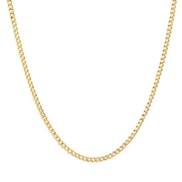 Shop Mcs Jewelry Inc 10 Karat Yellow Gold Curb Link Hollow Chain Necklace 2 5mm On Sale Overstock 12440248