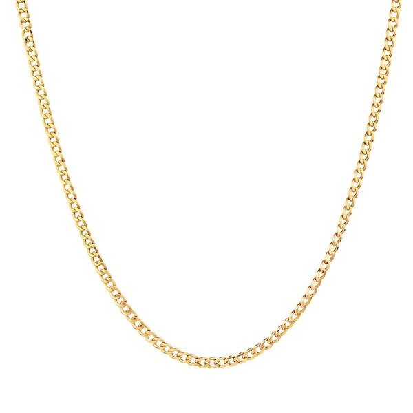 Mcs Jewelry Inc 10 KARAT YELLOW GOLD HOLLOW CURB LINK CHAIN NECKLACE (3MM)