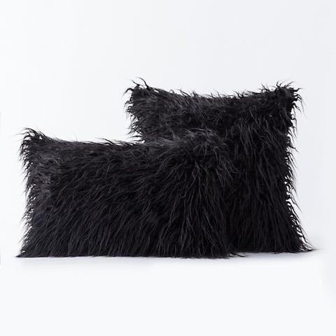 Airi Home Luxury Collection Faux Fur Merino Tibetan Throw Pillow Covers - Set of 2
