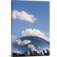 Premium Thick-Wrap Canvas entitled Reflection of clouds and skyline in a sculpture, Cloud Gate, Milleninum Park,