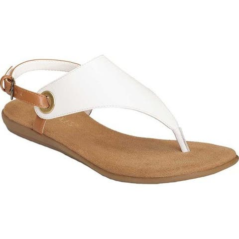 a988dac25fa1 Aerosoles Women s In Conchlusion Thong Sandal White Leather Faux Leather