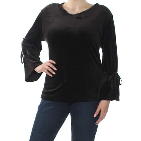 SANCTUARY Womens Black Bell Sleeve Scoop Neck Top Plus Size: XL