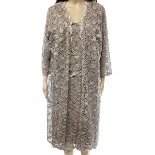 R&M Richards NEW Brown Mocha Lace Women 14W Plus Sheath Dress Set