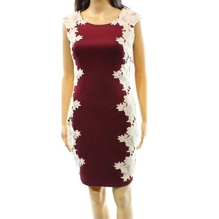 Jax NEW Red Cream Women's Size 4 Sheath Embroidered Lace Dress