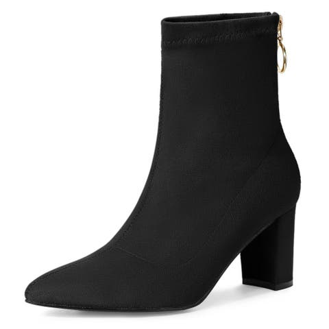 Women's Pointed Toe Zipper Chunky Heels Ankle Boots