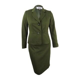 Le Suit Women's Crosshatch Two-Button Skirt Suit - Loden