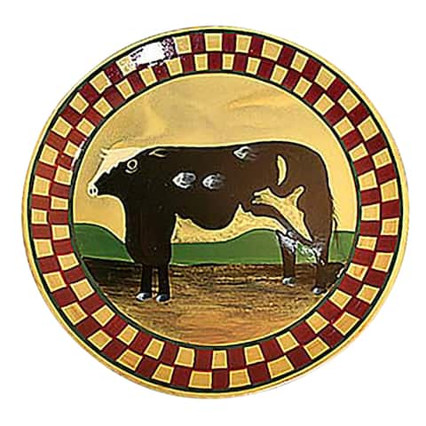 Collector Plates Ceramic Brown Cow Dinner Plate Handpainted Renovator's Supply
