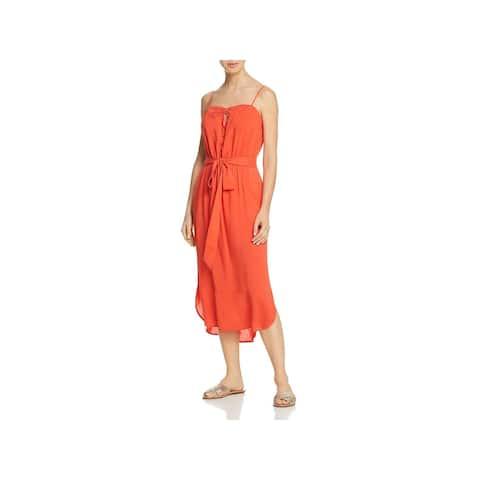 ViX Paula Hermanny Womens Grace Midi Keyhole Dress Swim Cover-Up - Coral - M