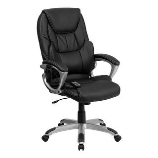 Offex High Back Massaging Black Leather Executive Office Chair with Silver Base [OF-BT-9806HP-2-GG]